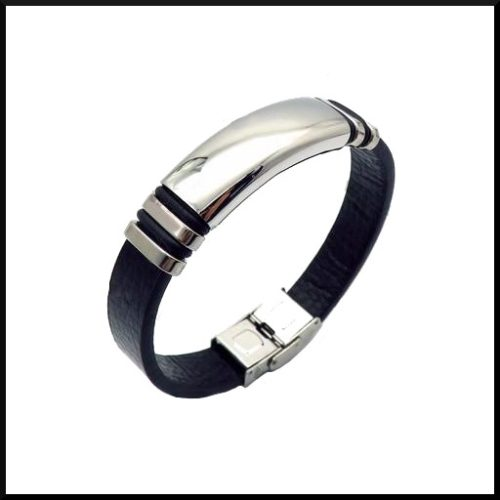 Läder & stål armband