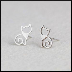 stål örhänge katt