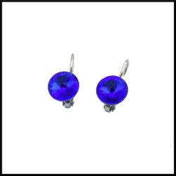 Stål örhänge med blå kristall