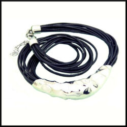 stål & läder halsband