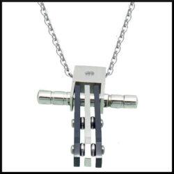 Stål halsband kors