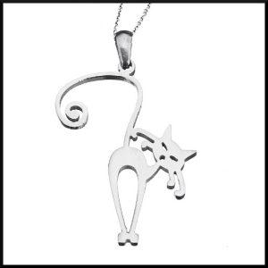 Halsband i stål med katt