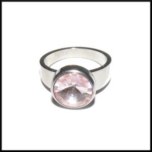 Stål ring rosa sten