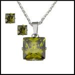 Stål halsband grön kristall