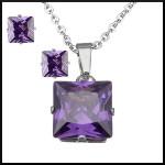 Stål halsband lila kristall