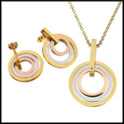 stål halsband guld
