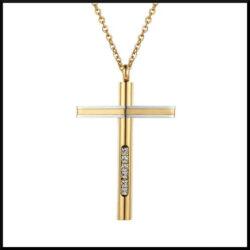 Stål kors guldpläterat