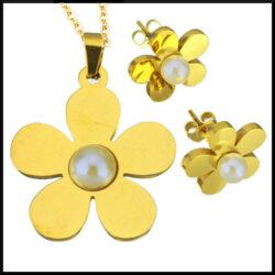 Halsband set med guld blomma i stå