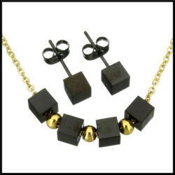 Stål halsband set i guld plätering