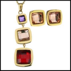 Guldpläterat stål smyckesset