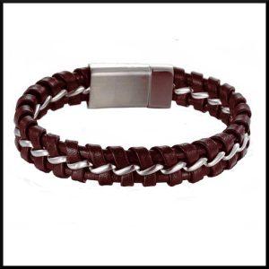 armband stål och läder