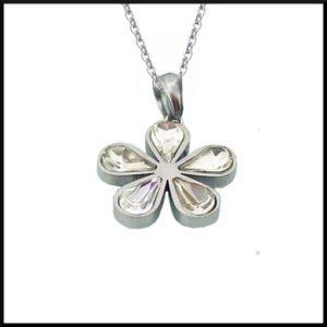 Stål halsband blomma