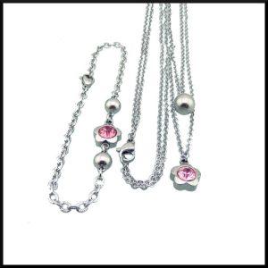 stål halsband med två kedjor