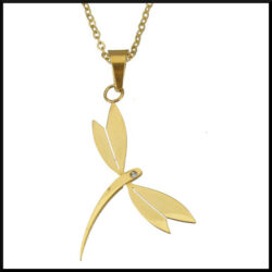 Halsband med slända i guld pläterat stål.