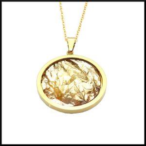 Stål halsband guld pläterat
