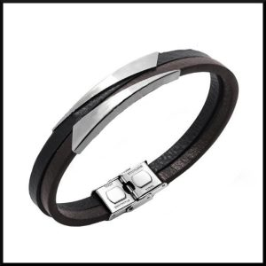 Stål och läder armband