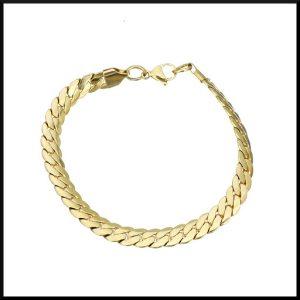Armband pansarlänk guld pläterat stål
