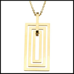 Stål halsband rektangel guld pläterat