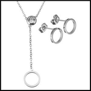 halsband och örhängen i stål
