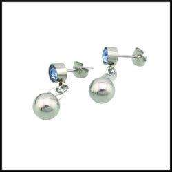 stål örhänge med kristall