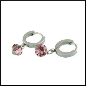 Orhängen carla rosa i stål