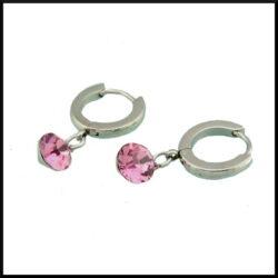 Örhänge med rosa kristall