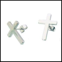 Stål örhängen med kors