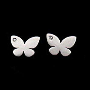 örhängen med fjärilar i stål