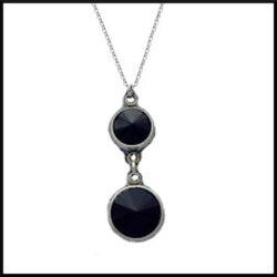 stål halsband med fasett slipad svart sten
