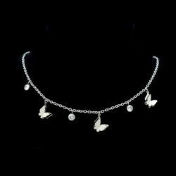 halsband med fjärilar i stål