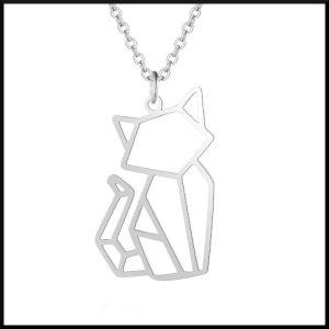 Halsband med katt i stål