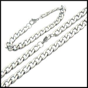 Pansar länk armband i stål