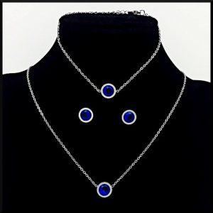 Armband Dahlia med blå sten i stål