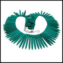 Halsband Turkos i korall och stål