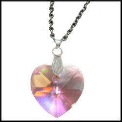 Halsband rosa kristallhjärta i stål