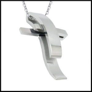 Halsband Dubbel Kors i stål