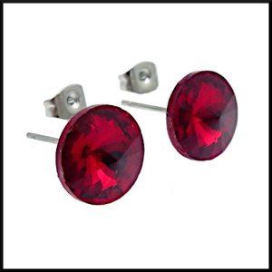 Örhängen Prisma Röd i stål