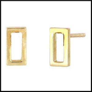 Örhängen Rektangel Guld i stål