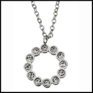 Halsband kristallring i stål